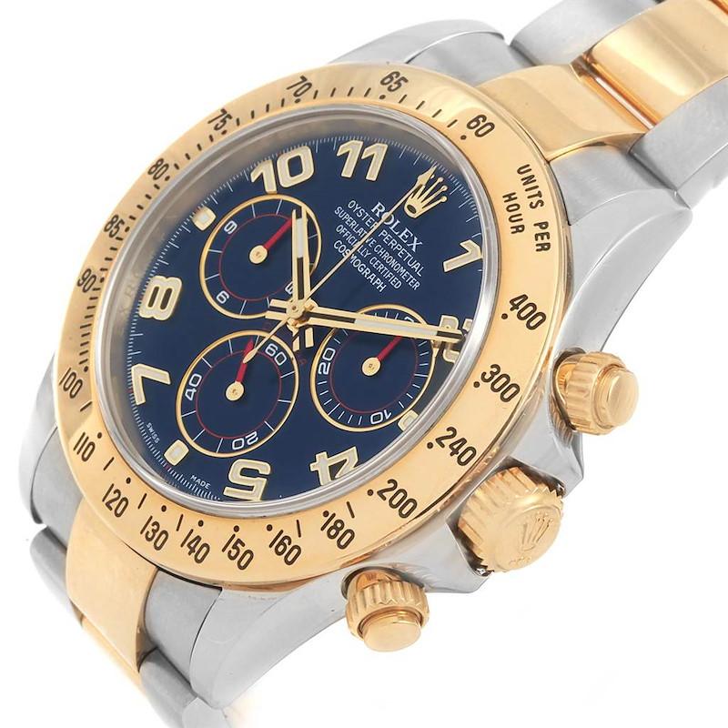 Rolex Daytona Steel 18K Yellow Gold Blue Dial Mens Watch 116523 SwissWatchExpo