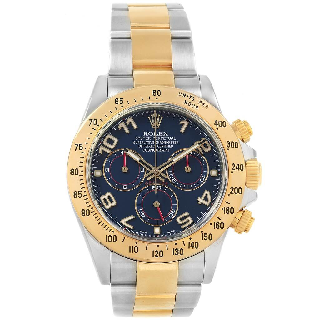 21098 Rolex Daytona Steel 18K Yellow Gold Blue Dial Mens Watch 116523 SwissWatchExpo