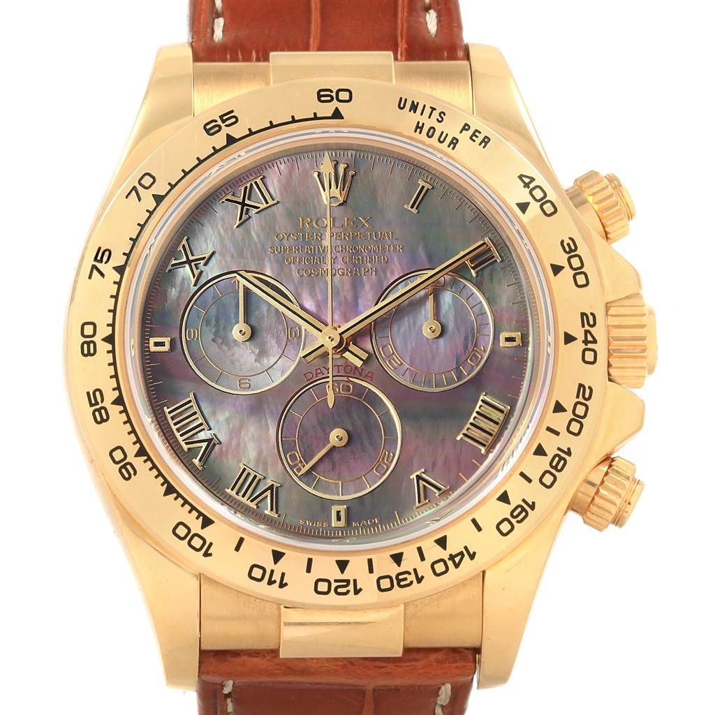 21099 Rolex Daytona Yellow Gold Mother of Pearl Dial Mens Watch 116518 SwissWatchExpo