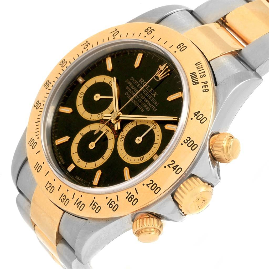 Rolex Daytona Steel Yellow Gold Inverted 6 Black Dial Mens Watch 16523 SwissWatchExpo