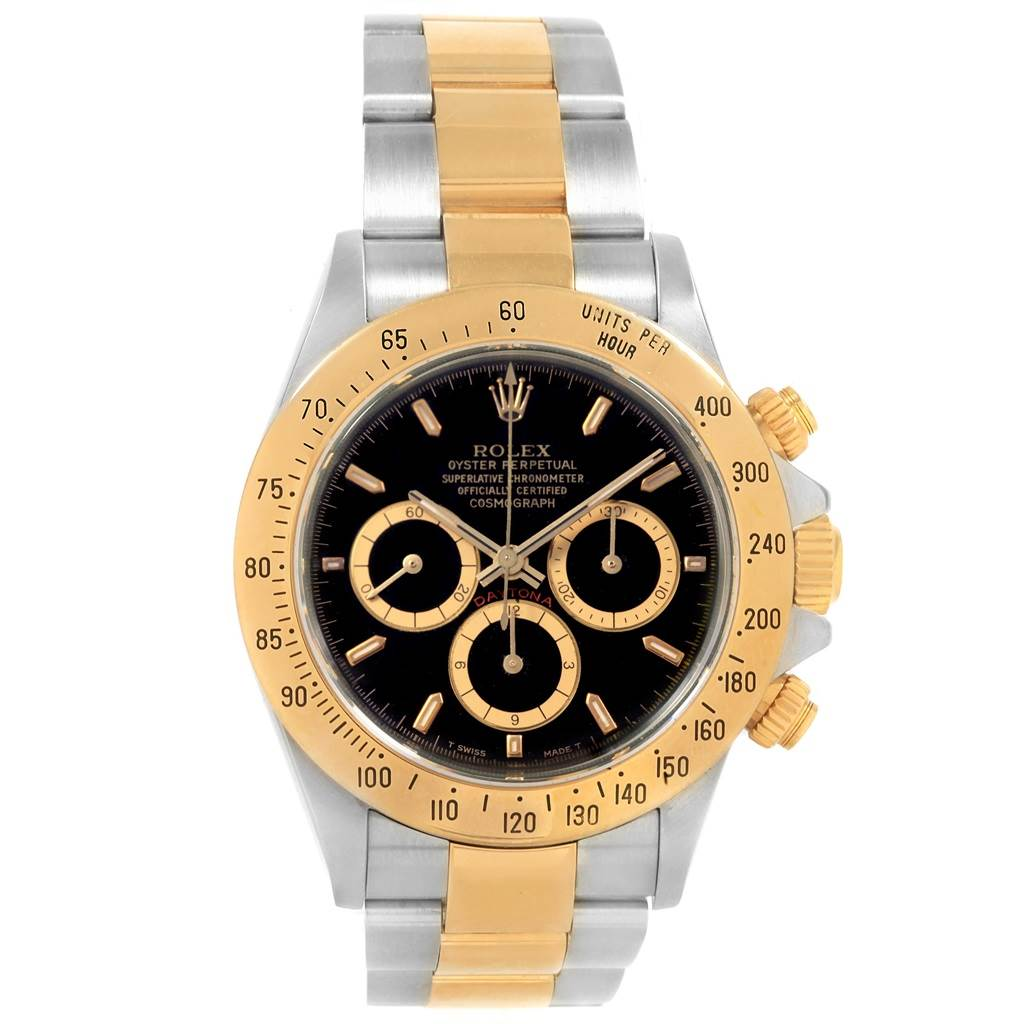 20619 Rolex Daytona Steel Yellow Gold Inverted 6 Black Dial Mens Watch 16523 SwissWatchExpo