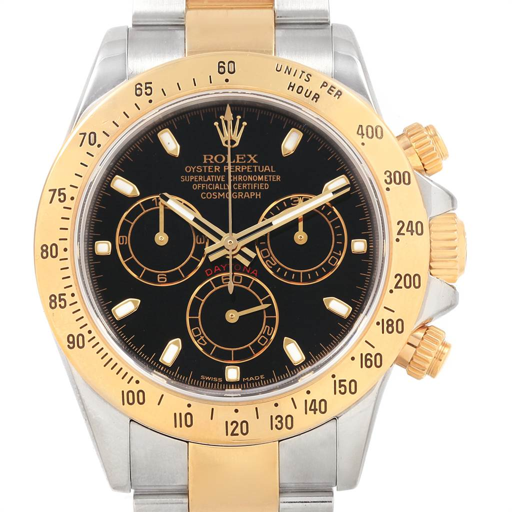 21686 Rolex Daytona Steel Yellow Gold Black Dial Mens Watch 116523 Box Card SwissWatchExpo