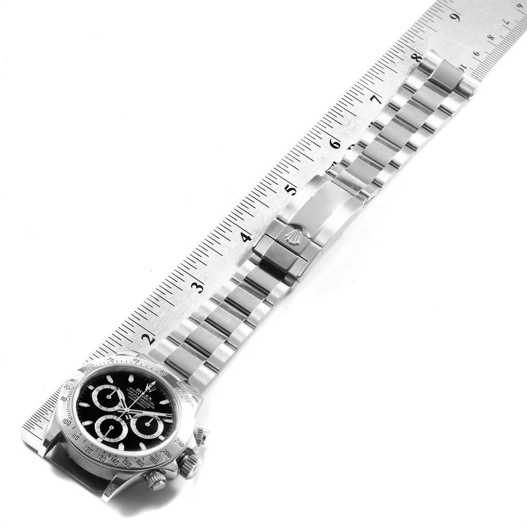 21020 Rolex Daytona Black Dial Chronograph Stainless Steel Mens Watch 116520 SwissWatchExpo