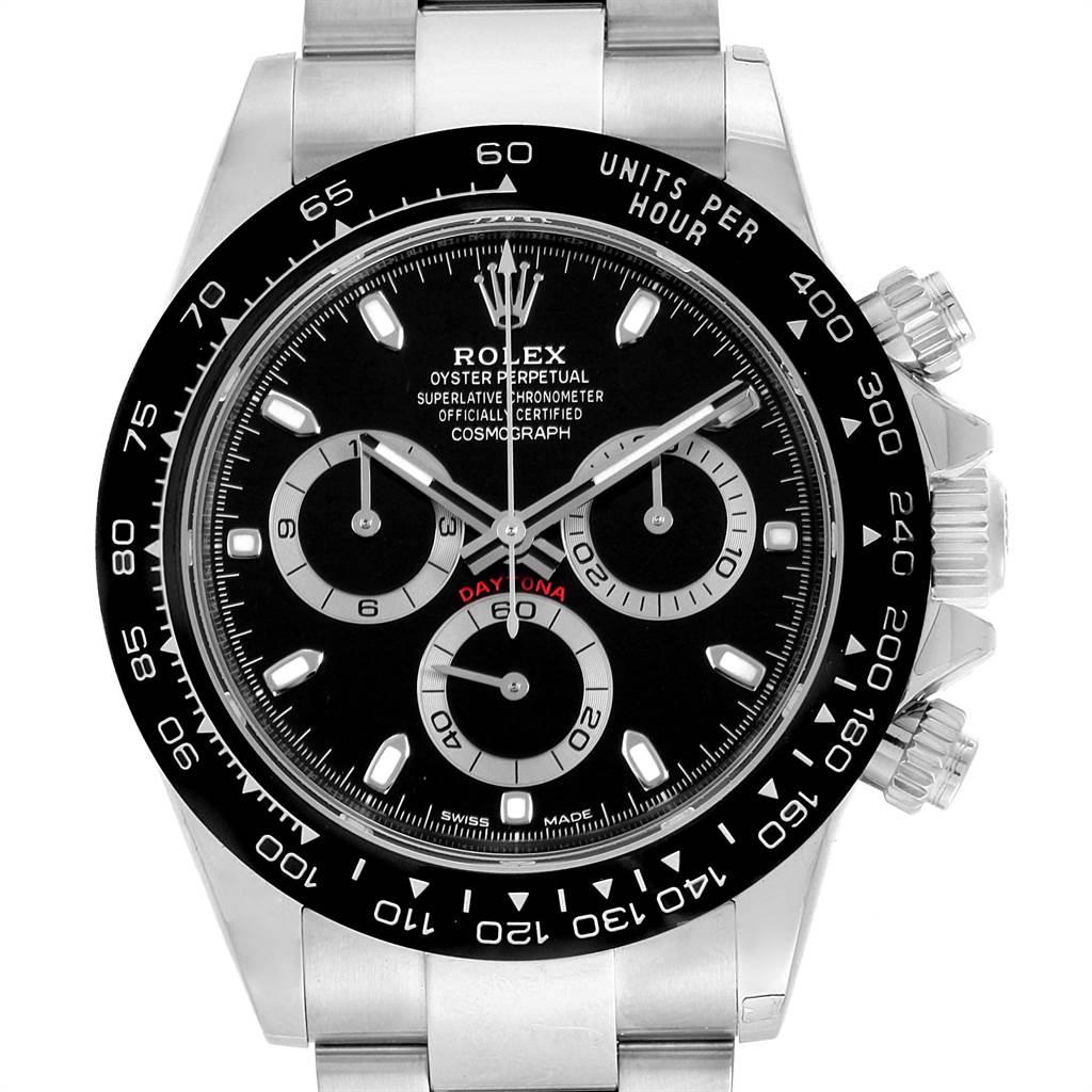 22068 Rolex Daytona Black Dial Chronograph Mens Watch 116500 Unworn SwissWatchExpo