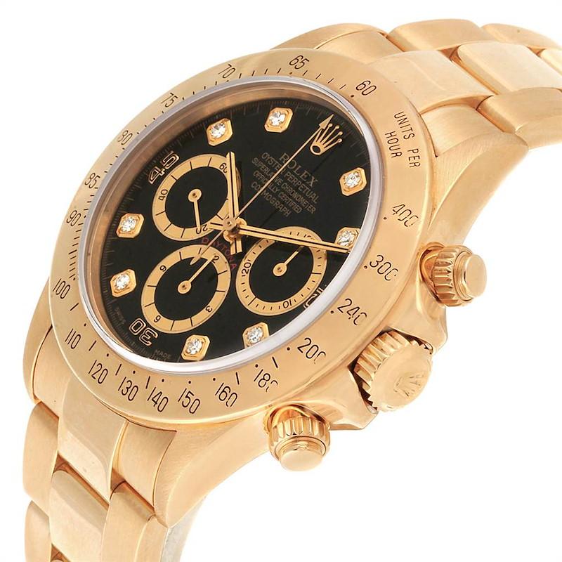 Rolex Daytona Yellow Gold Diamond Dial Chronograph Mens Watch 16528 SwissWatchExpo