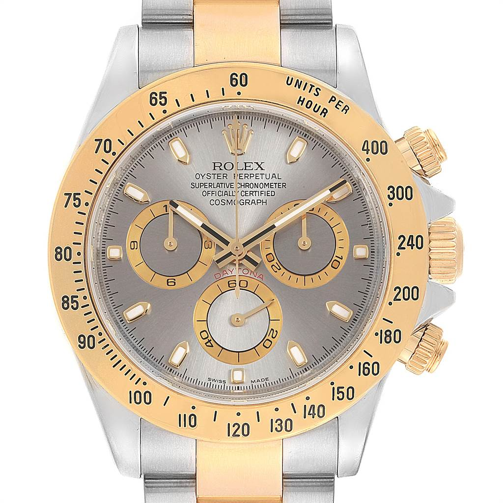 Rolex Daytona Steel 18K Yellow Gold Slate Dial Watch 116523 Box Card SwissWatchExpo
