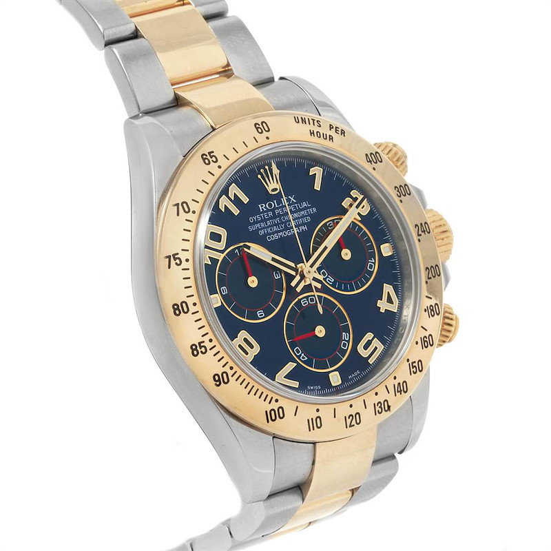 Rolex Daytona Steel 18K Yellow Gold Blue Dial Mens Watch 116523 SwissWatchExpo