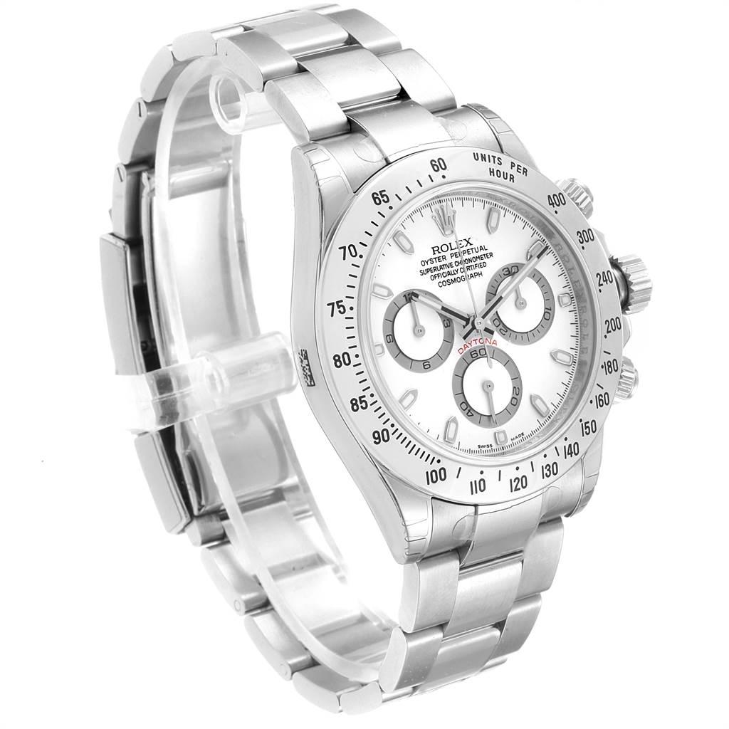 22578 Rolex Daytona White Dial Chronograph Steel Mens Watch 116520 Unworn SwissWatchExpo