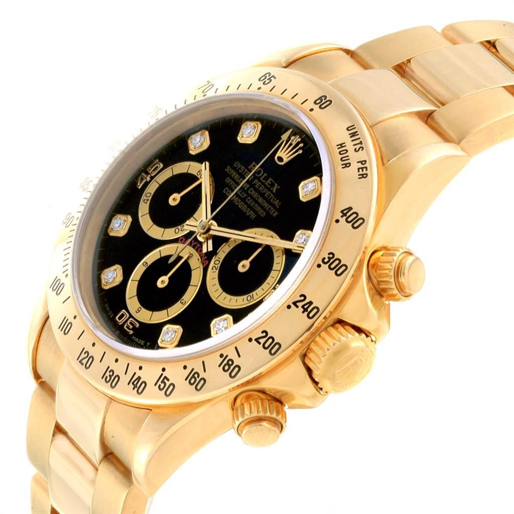 22840 Rolex Daytona Yellow Gold Diamond Dial Chronograph Mens Watch 16528 SwissWatchExpo