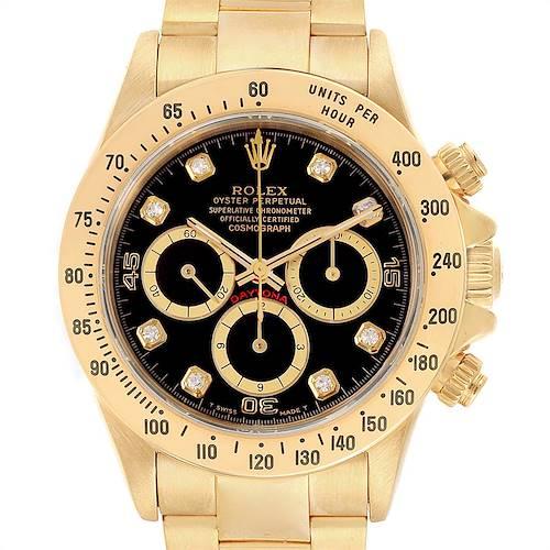 Photo of Rolex Daytona Yellow Gold Diamond Dial Chronograph Mens Watch 16528