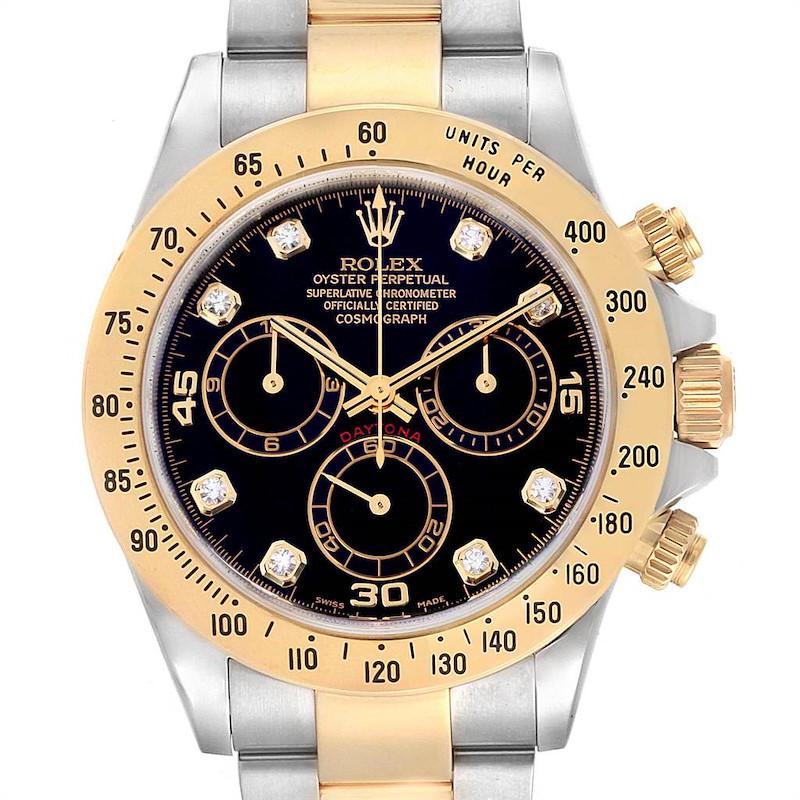 Rolex Daytona Steel Yellow Gold Diamond Chronograph Mens Watch 116523 SwissWatchExpo
