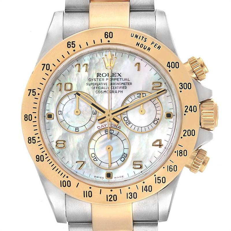 Rolex Daytona MOP Dial Steel Yellow Gold Chronograph Mens Watch 116523 SwissWatchExpo