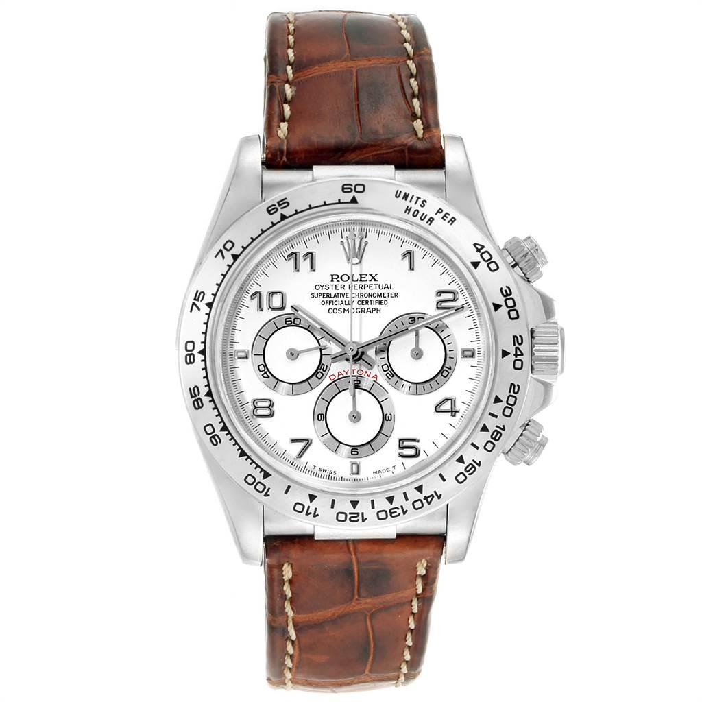Rolex Daytona White Gold Brown Strap Chronograph Mens Watch 16519
