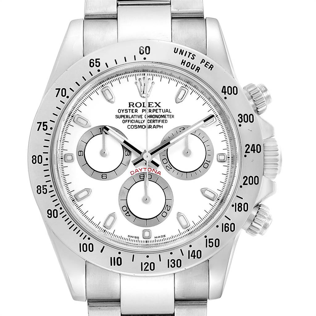 Rolex Cosmograph Daytona 40 White Dial Chrono Steel Mens Watch 116520 SwissWatchExpo