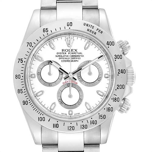Photo of Rolex Cosmograph Daytona 40 White Dial Chrono Steel Mens Watch 116520