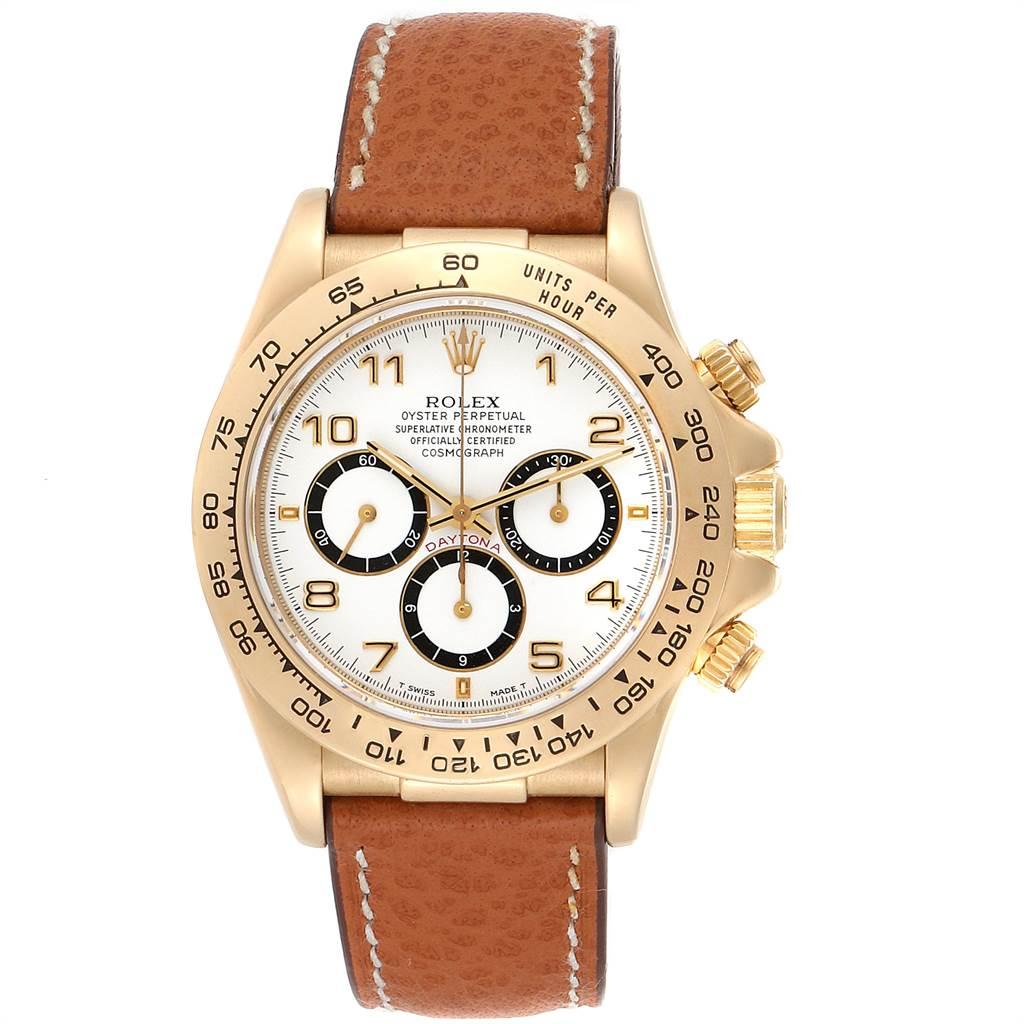 23440 Rolex Daytona Yellow Gold White Dial Chronograph Mens Watch 16518 SwissWatchExpo