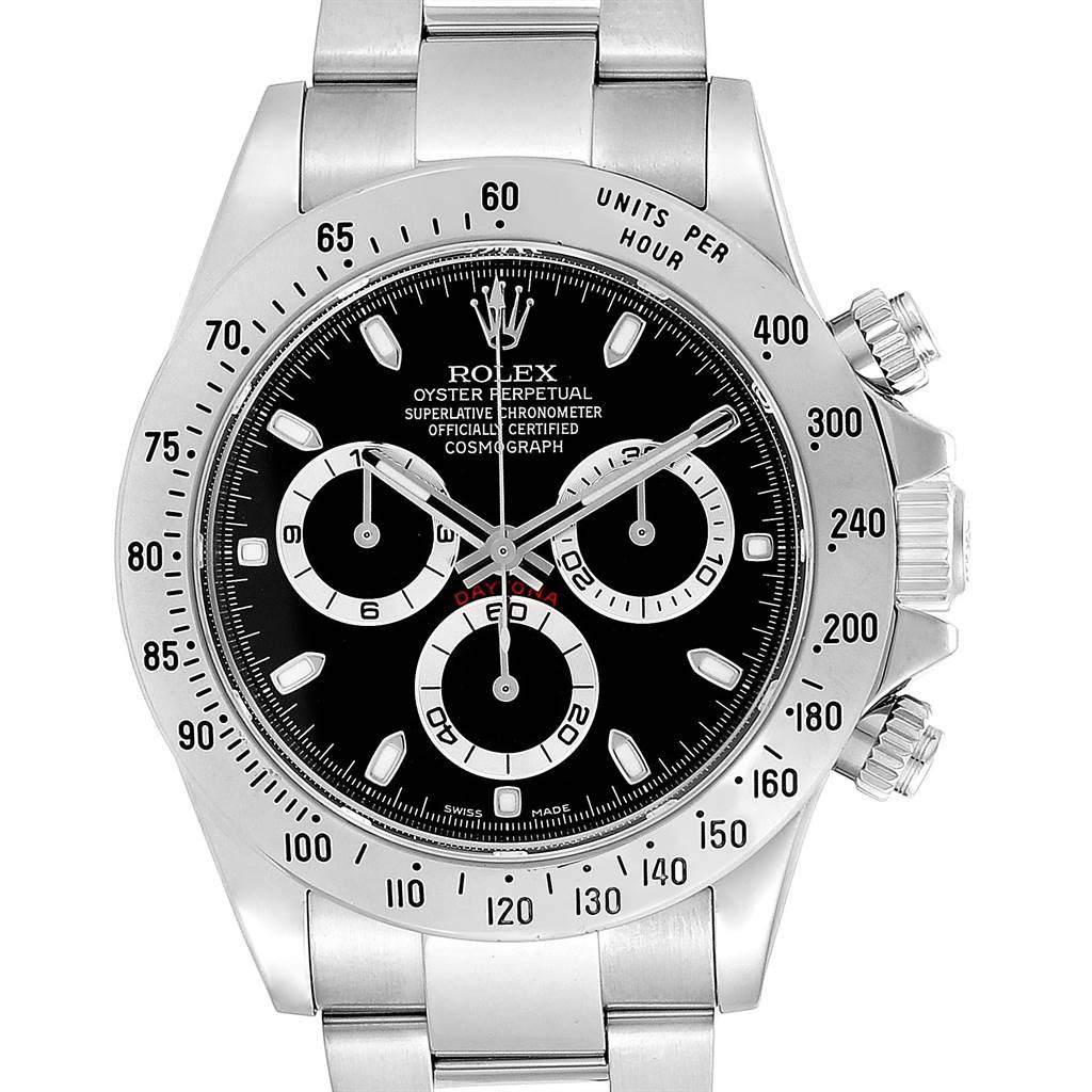 Rolex Daytona Black Dial Chronograph Steel Watch 116520 Box Card