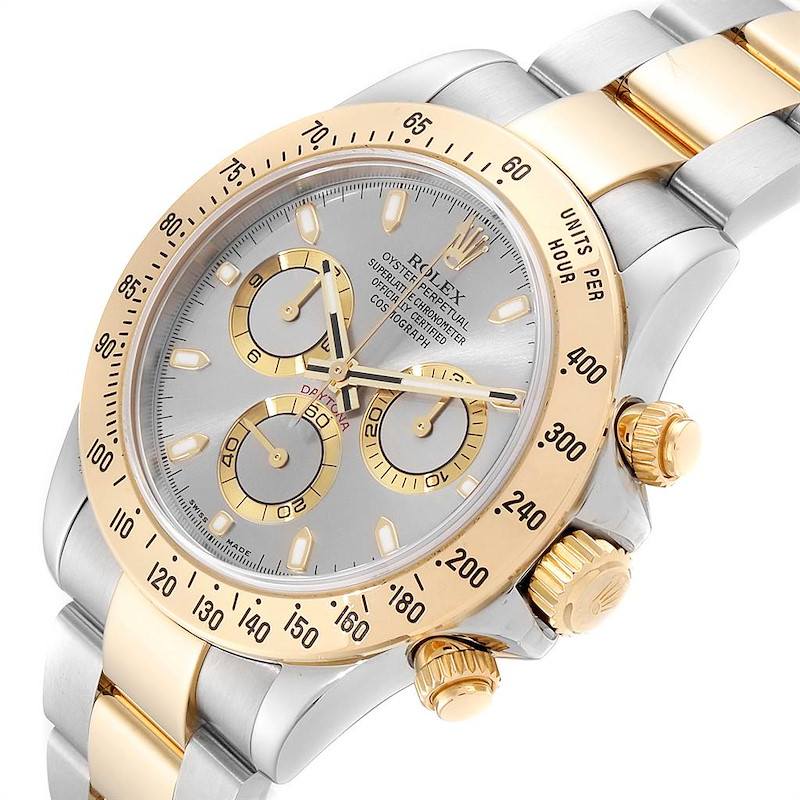 Rolex Daytona Steel Yellow Gold Slate Dial Chronograph Mens Watch 116523 SwissWatchExpo