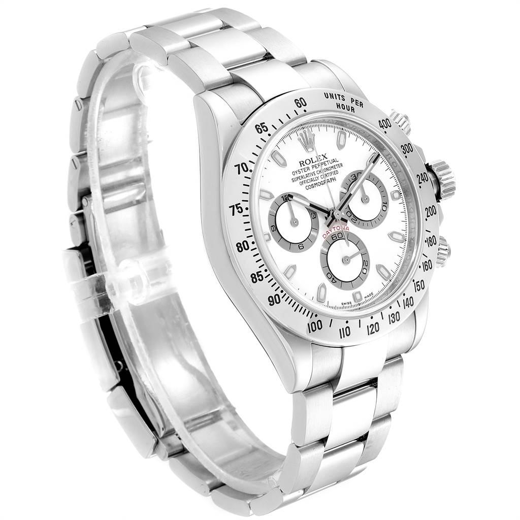 23796X Rolex Cosmograph Daytona 40 White Dial Chrono Steel Mens Watch 116520 SwissWatchExpo