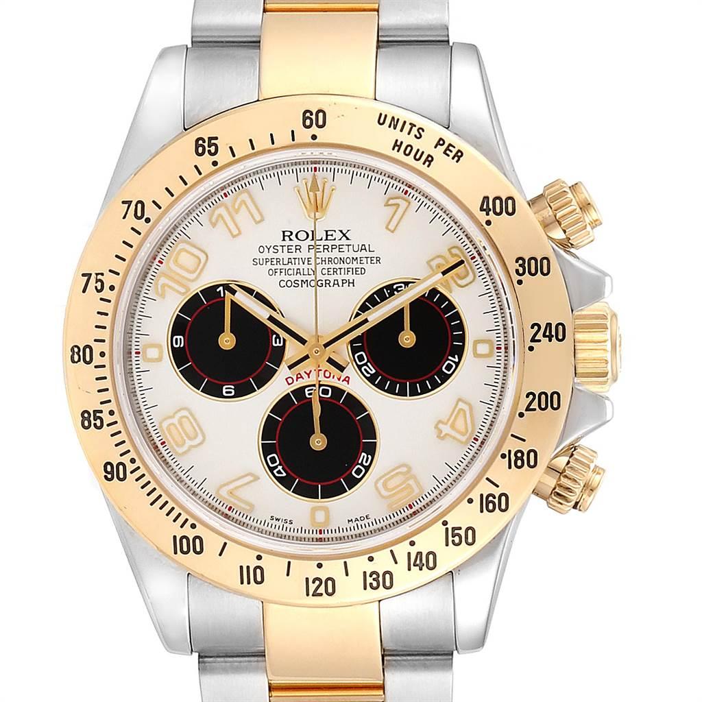 23784 Rolex Daytona Panda Dial Steel Yellow Gold Chronograph Mens Watch 116523 SwissWatchExpo