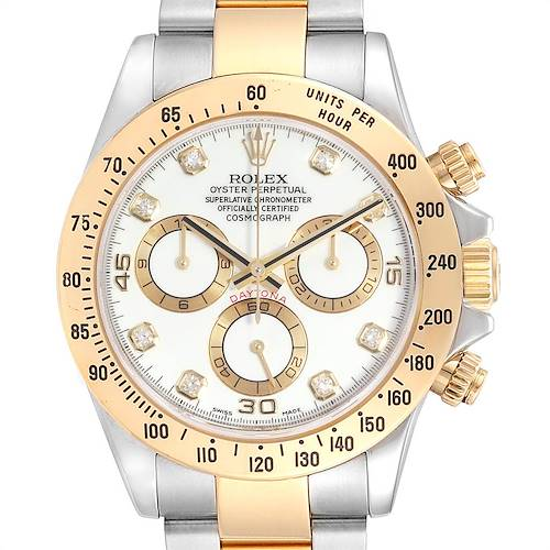 Photo of Rolex Daytona Steel Yellow Gold Diamond Chronograph Mens Watch 116523