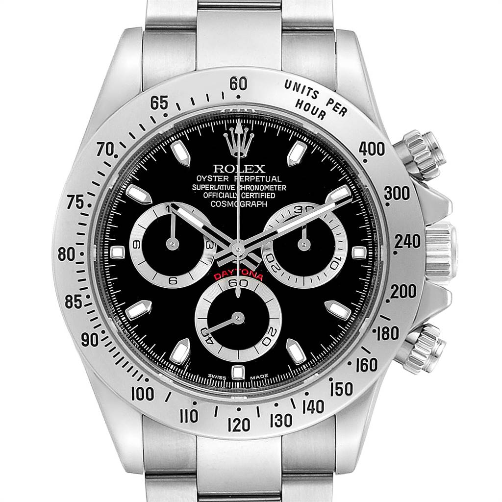 Rolex Daytona Black Dial Chronograph Stainless Steel Mens Watch 116520 SwissWatchExpo