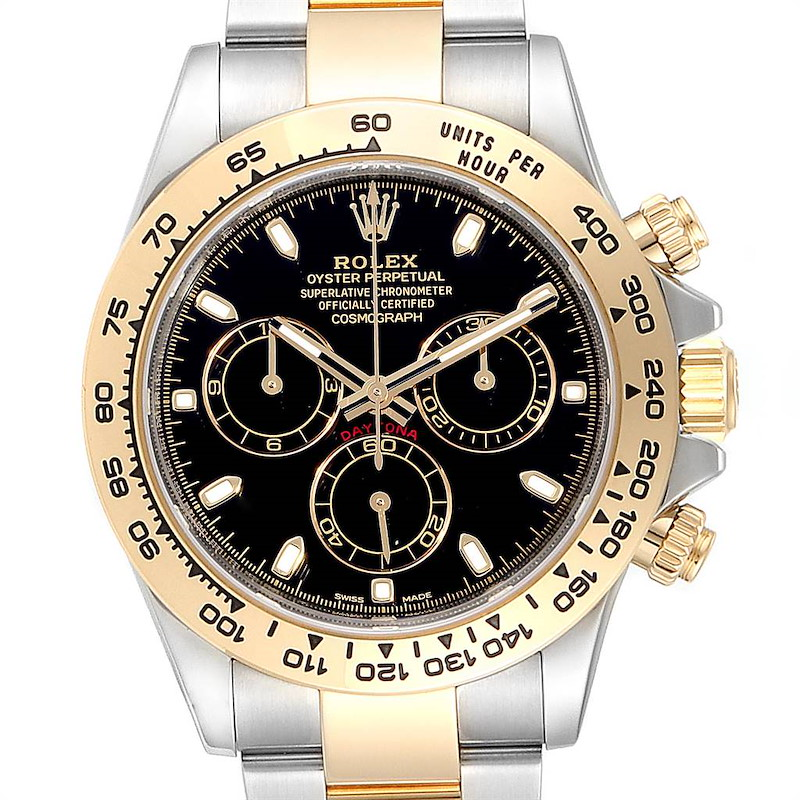 Rolex Cosmograph Daytona Black Dial Steel Yellow Gold Mens Watch 116503 SwissWatchExpo