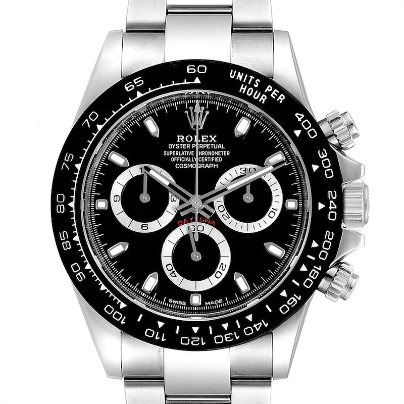 Rolex Daytona Ceramic Bezel Black Dial Chronograph Mens Watch 116500 SwissWatchExpo