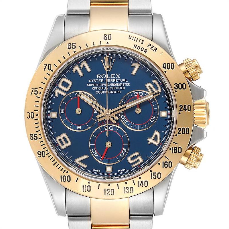 Rolex Daytona Steel Yellow Gold Blue Racing Dial Mens Watch 116523 SwissWatchExpo