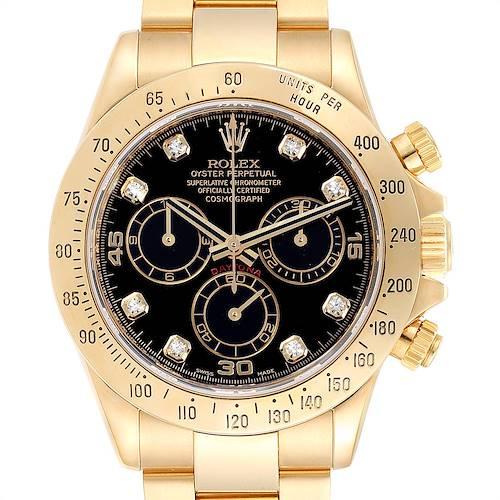 Photo of Rolex Cosmograph Daytona Yellow Gold Black Diamond Dial Mens Watch 116528