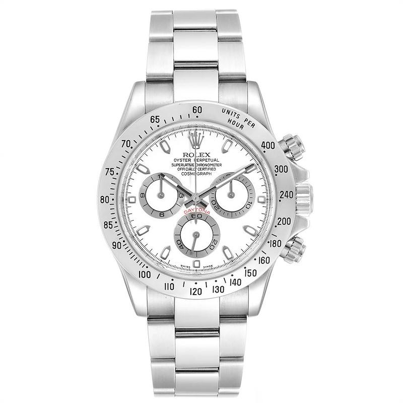 Rolex Cosmograph Daytona 40 White Dial Chrono Steel Mens Watch 116520 SwissWatchExpo