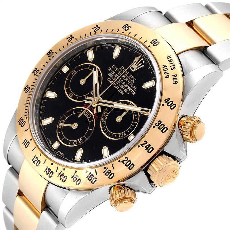 Rolex Daytona Steel Yellow Gold Black Dial Chronograph Mens Watch 116523 SwissWatchExpo