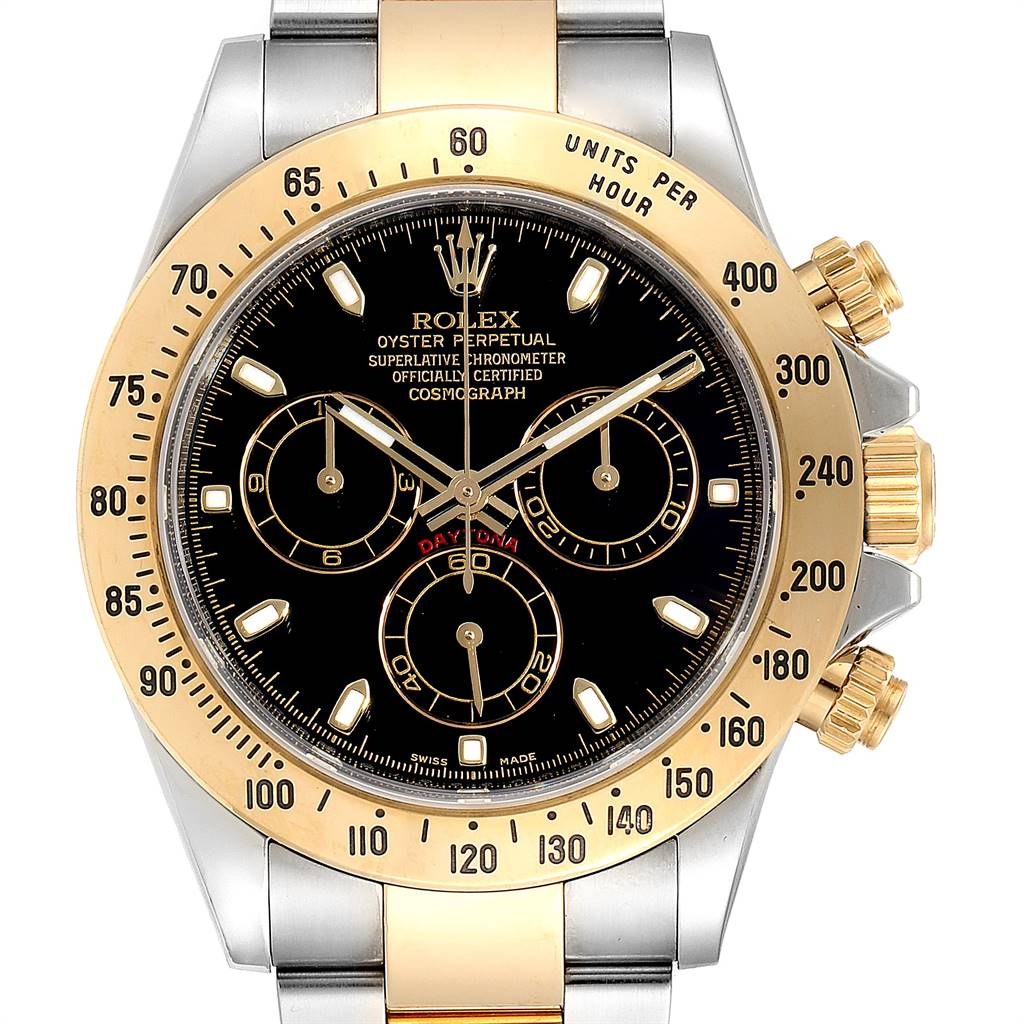 25089 Rolex Daytona Steel Yellow Gold Black Dial Chronograph Mens Watch 116523 SwissWatchExpo