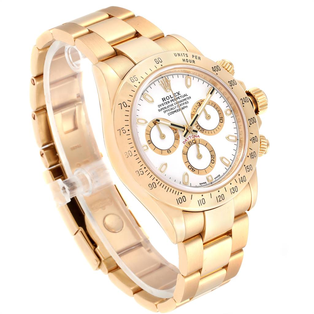 25091 Rolex Cosmograph Daytona Yellow Gold White Dial Mens Watch 116528 SwissWatchExpo