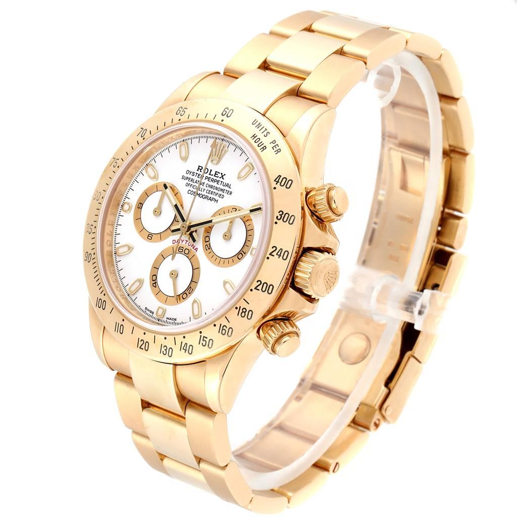 Rolex Cosmograph Daytona Yellow Gold White Dial Mens Watch 116528 SwissWatchExpo