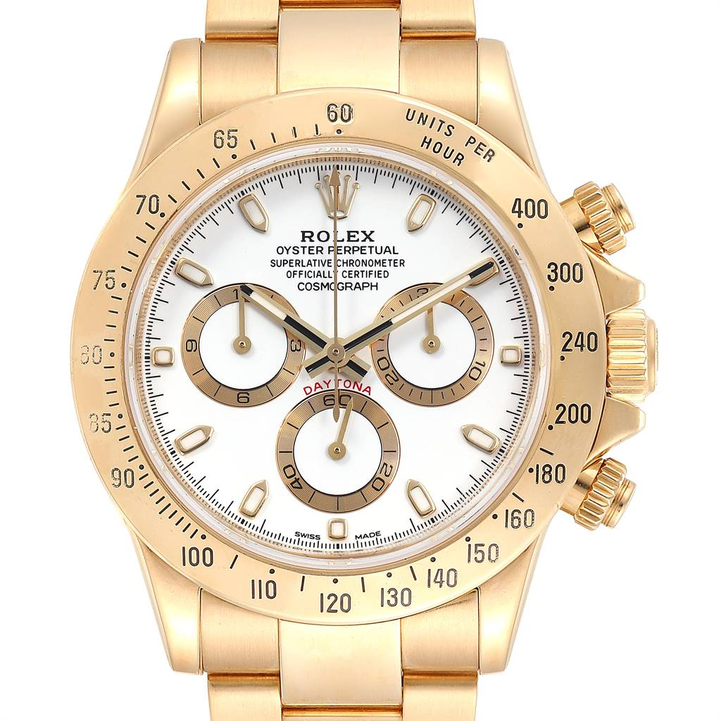 Rolex Cosmograph Daytona Yellow Gold White Dial Mens Watch 116528 SwissWatchExpo