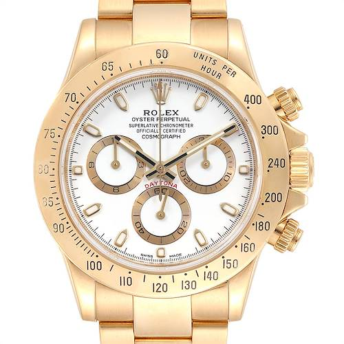 Photo of Rolex Cosmograph Daytona Yellow Gold White Dial Mens Watch 116528