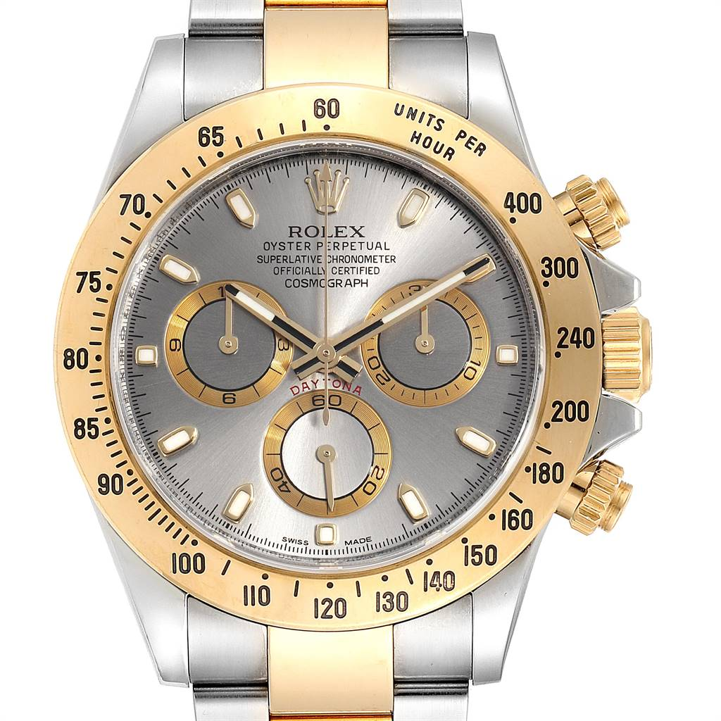 Rolex Daytona Steel Yellow Gold Slate Dial Chronograph Mens Watch 116523 SwissWatchExpo