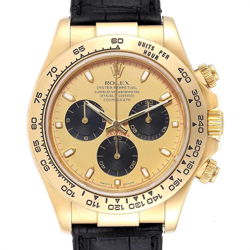 Rolex Daytona Yellow Gold Black Strap Mens Watch 116518 SwissWatchExpo