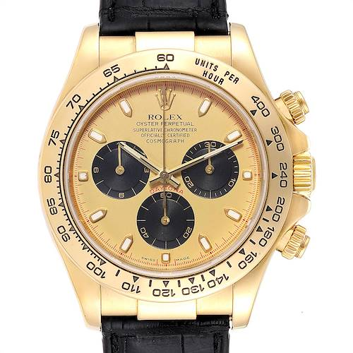 Photo of Rolex Daytona Yellow Gold Black Strap Mens Watch 116518