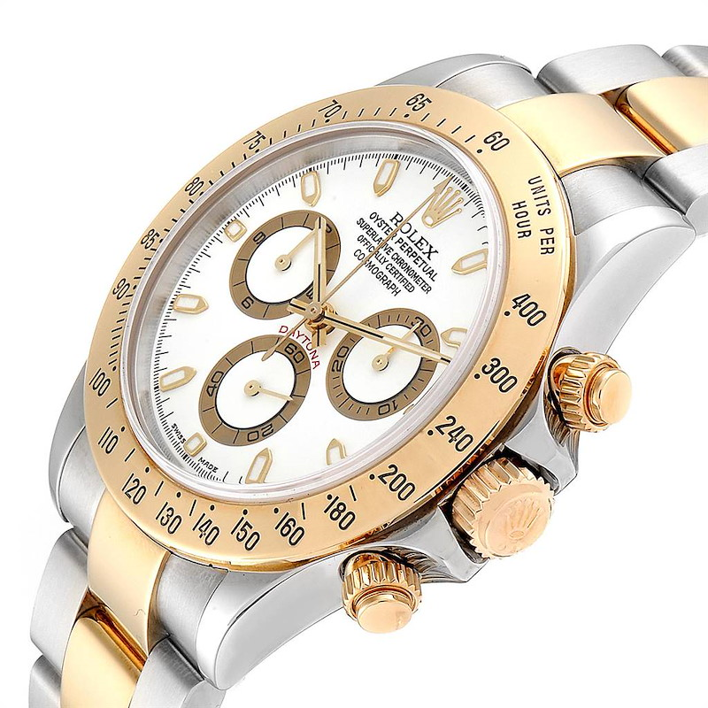 Rolex Daytona Steel Yellow Gold White Dial Mens Watch 116523 Box Papers SwissWatchExpo