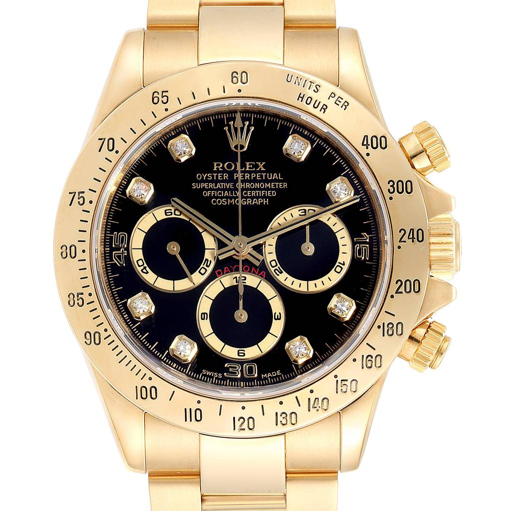 Rolex Daytona Yellow Gold Diamond Dial Chronograph Mens Watch 16528