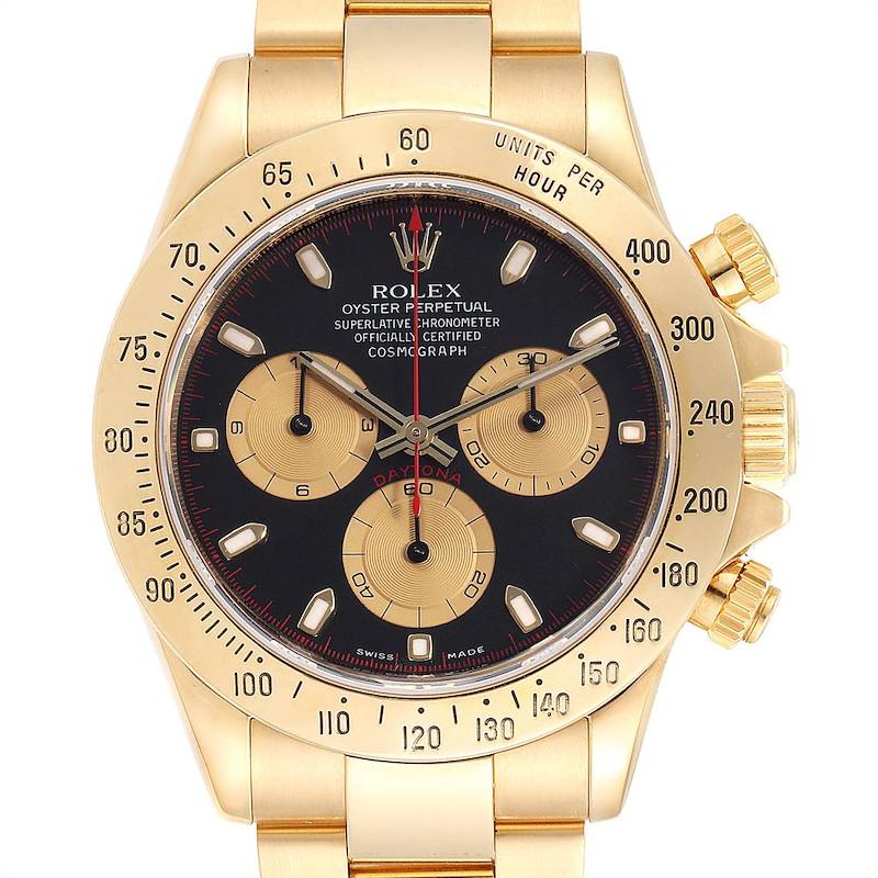 Rolex Cosmograph Daytona Yellow Gold Black Dial Mens Watch 116528 SwissWatchExpo