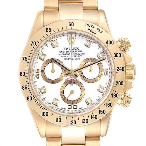Photo of Rolex Daytona Yellow Gold White Diamond Dial Mens Watch 116528 Box Papers