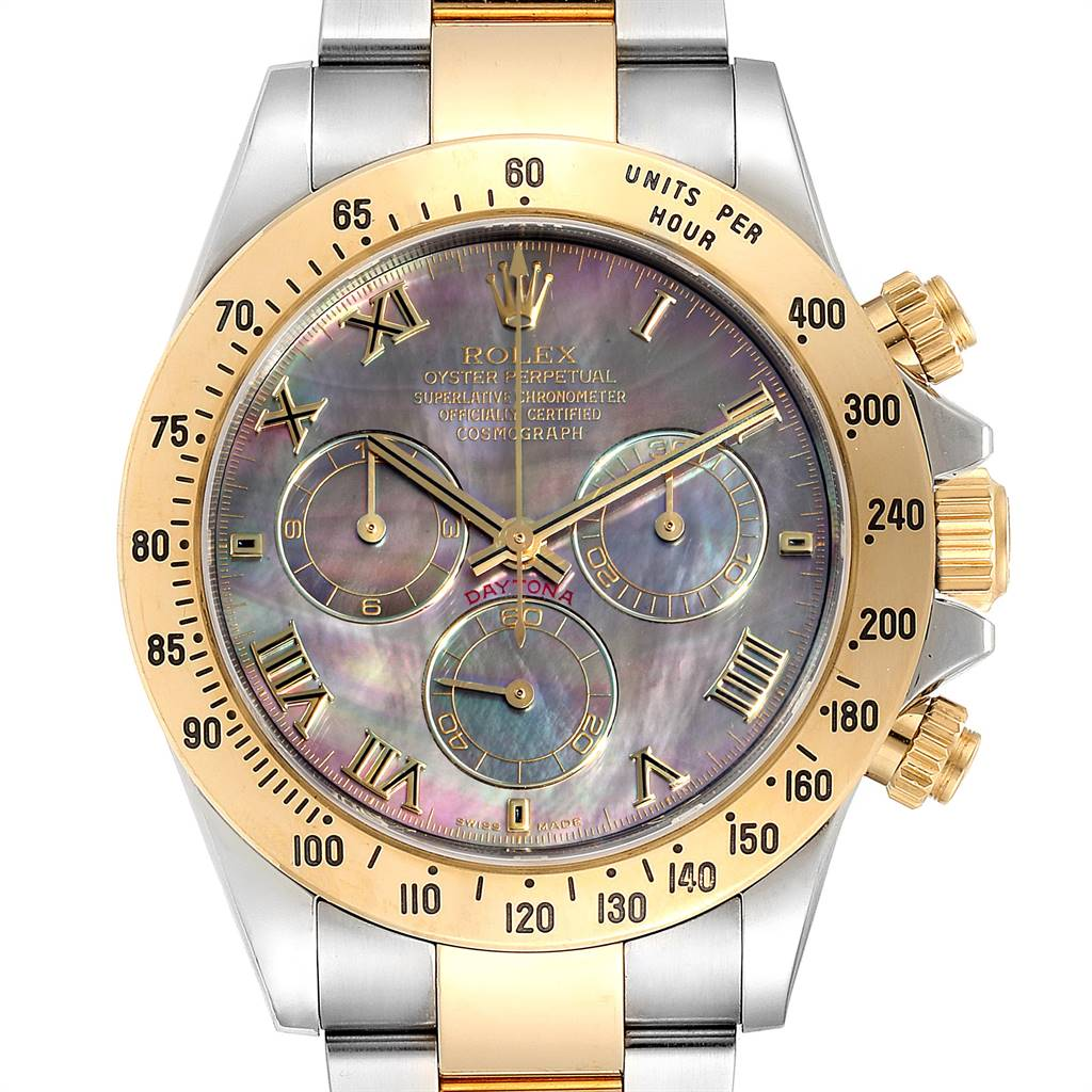 Rolex Daytona Steel Yellow Gold Black Mother of Pearl Dial Chronograph Mens Watch 116523 SwissWatchExpo