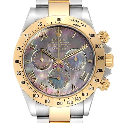 Photo of Rolex Daytona Steel Yellow Gold Black Mother of Pearl Dial Chronograph Mens Watch 116523