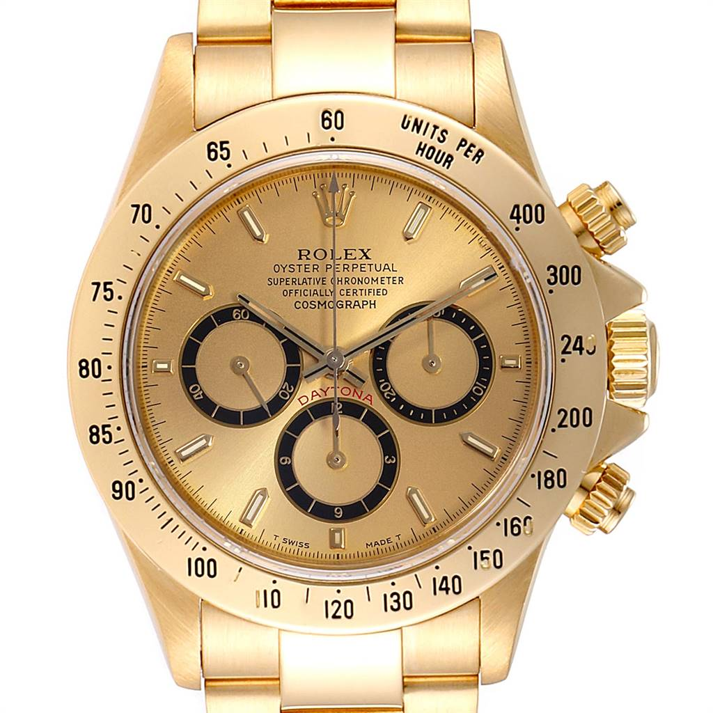 Rolex Daytona Inverted 6 Yellow Gold Chronograph Mens Watch 16528 SwissWatchExpo