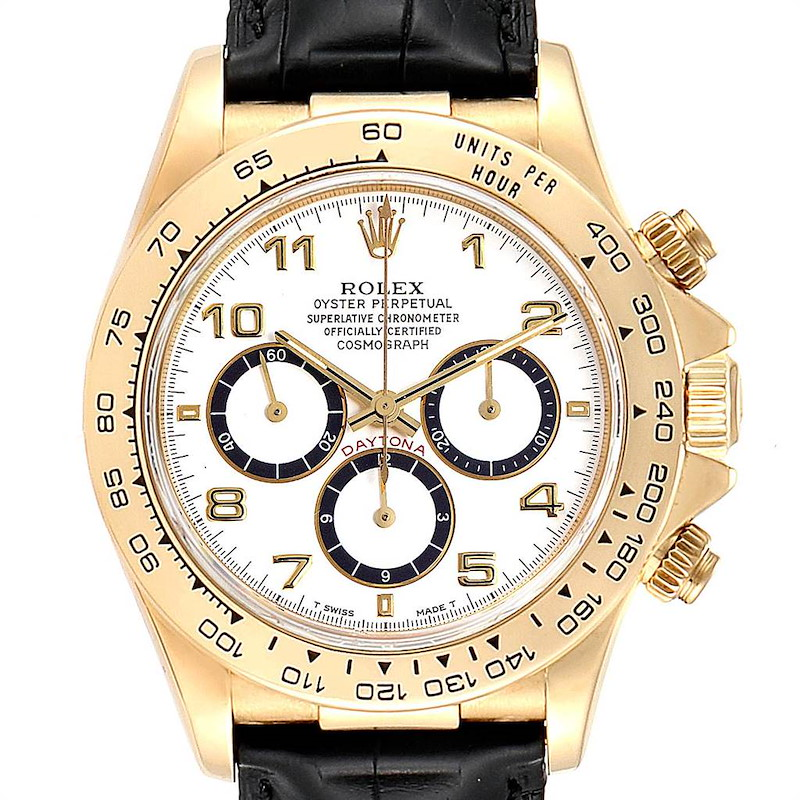 Rolex Daytona Yellow Gold White Dial Black Strap Mens Watch 16518 SwissWatchExpo