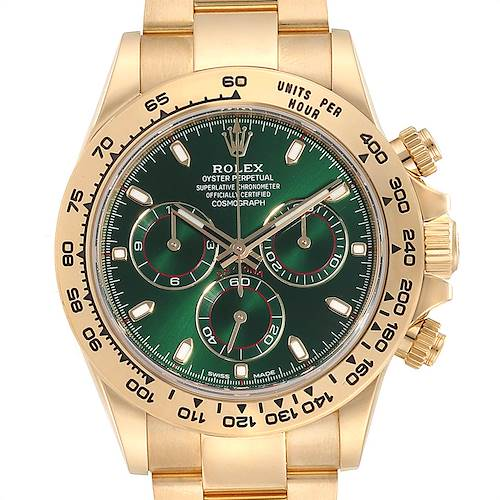 Photo of Rolex Daytona Yellow Gold Green Dial Mens Watch 116508 Box Card