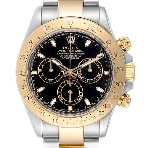 Photo of Rolex Daytona Steel Yellow Gold Black Dial Chronograph Mens Watch 116523